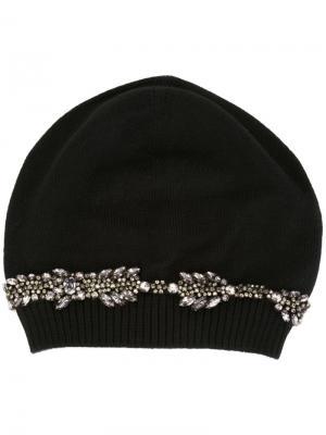 Декорированная шапка-бини Nº21. Цвет: чёрный