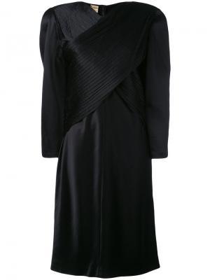 Oversize wrap front dress Krizia Vintage. Цвет: чёрный