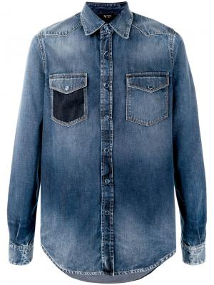 Джинсовая рубашка с потертой отделкой Nº21. Цвет: синий