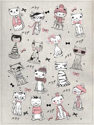 Полотенца Котики модные, 2 шт., с петелькой GrandStyle. Цвет: черный, серый меланж, бледно-розовый