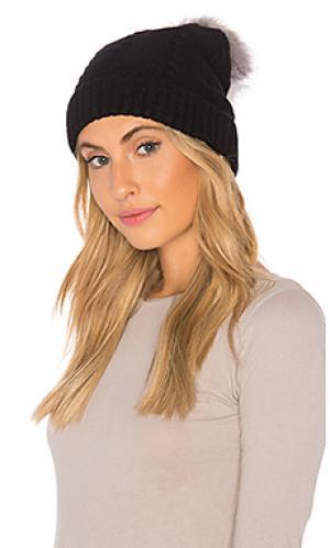 Лыжная шапочка с помпоном из искусственного меха vegan cashmere Plush. Цвет: черный