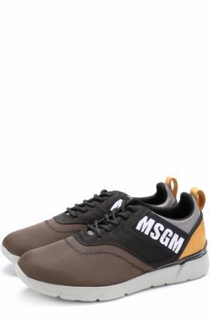 Текстильные кроссовки на шнуровке с замшевой отделкой MSGM. Цвет: хаки