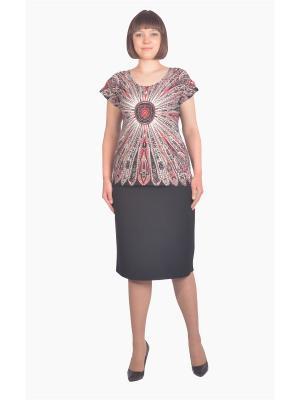 Блузка Томилочка Мода ТМ. Цвет: черный, бежевый, красный
