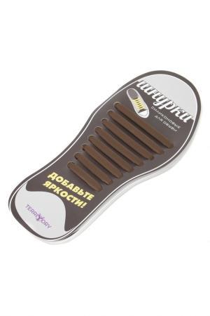 Силиконовые шнурки TERRITORY. Цвет: коричневый