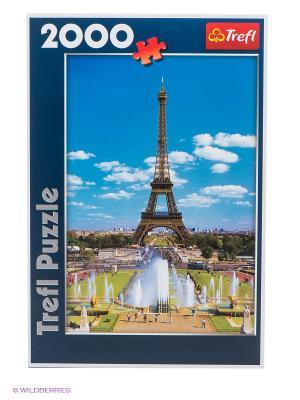 Пазл Эйфелева башня 2000 деталей Trefl. Цвет: синий, зеленый, коричневый, голубой, бежевый, желтый, белый
