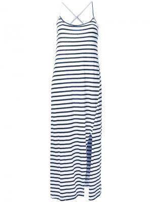 Полосатое платье с перекрещивающимися лямками Bassike. Цвет: белый