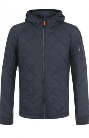 Стеганая куртка на молнии с капюшоном Parajumpers. Цвет: серый