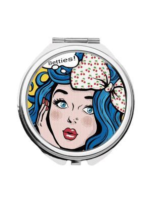 Зеркальце карманное Мальвина поп-арт Chocopony. Цвет: голубой, бледно-розовый, желтый