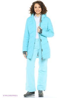 Куртка удлиненная High Experience. Цвет: бирюзовый