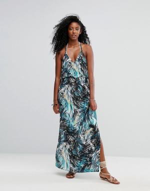 Liquorish Пляжное платье на бретельках с тропическим принтом и V-образным вырезо. Цвет: мульти