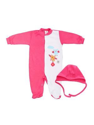 Комплект одежды: комбинезон, чепчик Коллекция Весна КОТМАРКОТ. Цвет: малиновый