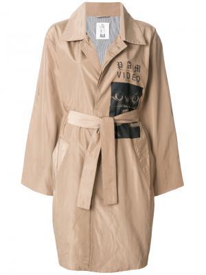Пальто-накидка с принтом Pam Perks And Mini. Цвет: коричневый