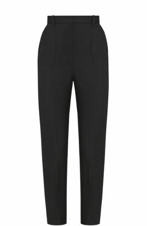 Шерстяные укороченные брюки со стрелками Alexander McQueen. Цвет: черный