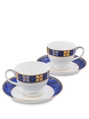 Чайный набор на 2 перс. Золотой Палермо (Gold Palermo Pavone) Pavone. Цвет: белый, золотистый, синий