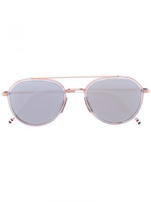 Солнцезащитные очки-авиатор Thom Browne Eyewear. Цвет: металлический