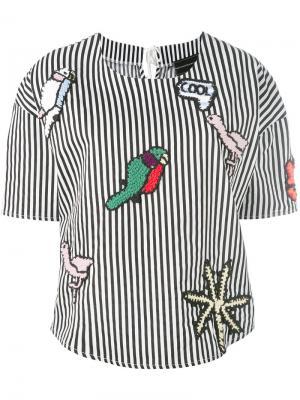 Полосатая блузка с заплатками Michaela Buerger. Цвет: чёрный