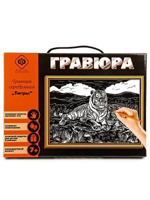 Набор для создания гравюры Тигры 21х30 см. Фабрика Фантазий. Цвет: черный, серо-голубой