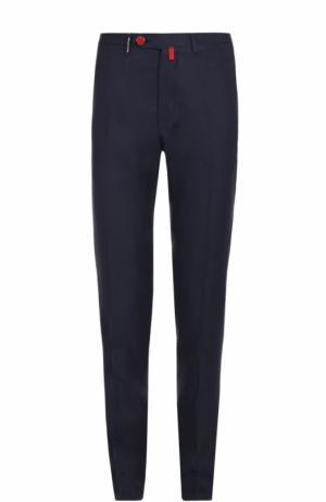 Льняные брюки прямого кроя Kiton. Цвет: темно-синий