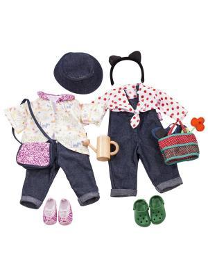 Набор летней одежды и акссесуаров 16 предметов  для куклы высотой 45 см GOTZ. Цвет: темно-синий, белый, розовый