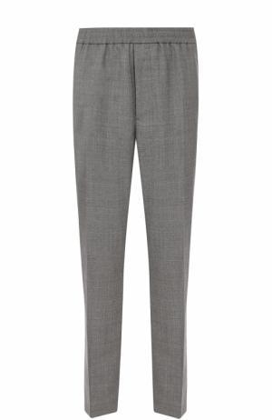 Шерстяные брюки прямого кроя Ami. Цвет: серый