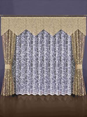 Комплект штор Wisan. Цвет: золотистый, белый