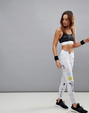 Adidas Леггинсы с принтом. Цвет: белый