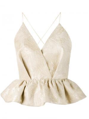 Блузка без рукавов с баской Delpozo. Цвет: телесный