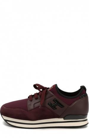 Комбинированные кроссовки с глиттером на заднике Hogan. Цвет: бордовый