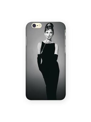 Чехол для IPhone 6 Одри в черном платье Mitya Veselkov. Цвет: черный, красный, желтый