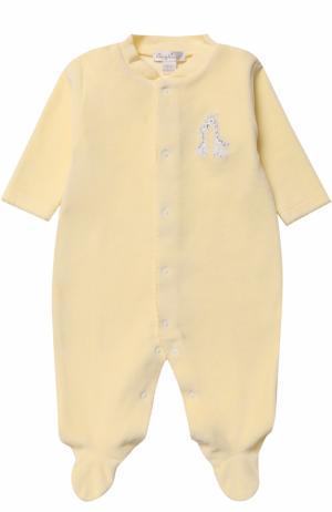 Хлопковая пижама с вышивкой Kissy. Цвет: желтый