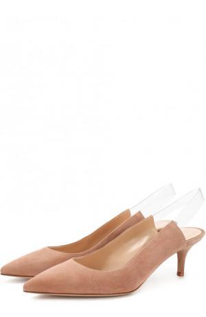 Замшевые туфли Eva на каблуке kitten heel Gianvito Rossi. Цвет: бежевый