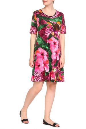 Платье домашнее LAVELLE. Цвет: ярко-розовый
