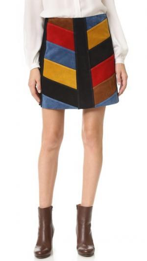 Замшевая юбка с шевронами M.i.h Jeans. Цвет: мульти