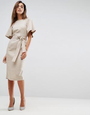ASOS Льняное платье-футляр с поясом оби. Цвет: коричневый