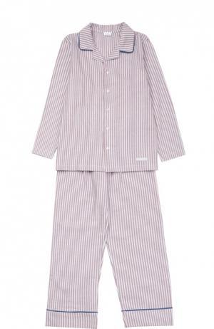 Хлопковая пижама с рисунком в полоску Grigioperla. Цвет: красный