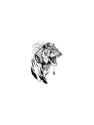 Временная переводная татуировка Тигр МнеТату. Цвет: черный