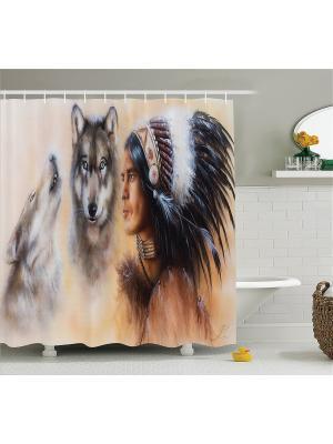Фотоштора для ванной Волшебная птица, индеец с волками, тигр в воде, слон и бегемот, 180x200 см Magic Lady. Цвет: черный, бежевый, белый, оранжевый