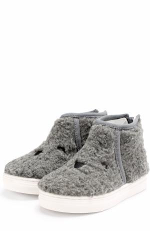 Ботинки из текстиля с вышивкой на молнии Joshua Sanders. Цвет: серый