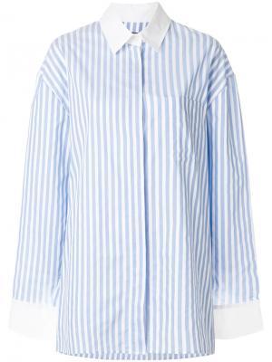 Рубашка в полоску с контрастным воротником Alexandre Vauthier. Цвет: синий