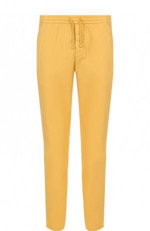 Хлопковые брюки прямого кроя Berwich. Цвет: желтый