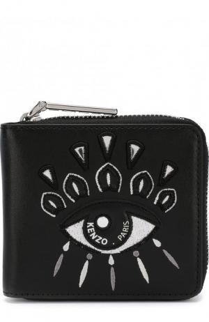 Кожаный кошелек на молнии с вышивкой Eye Kenzo. Цвет: черный