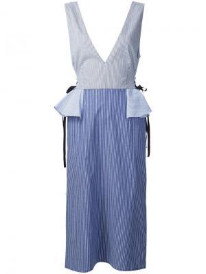 Платье с V-образным вырезом Tome. Цвет: синий