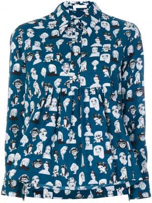 Рубашка с принтом Muse Peter Jensen. Цвет: синий