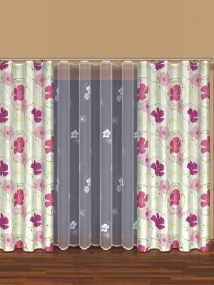Комплект штор Haft. Цвет: светло-зеленый, фуксия, белый