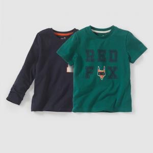 Комплект из 2 футболок с рисунком, для 3-12 лет R édition. Цвет: зеленый + темно-синий