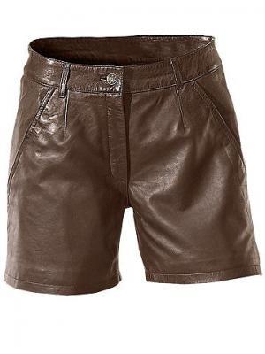 Кожаные шорты PATRIZIA DINI. Цвет: цвет коньяка