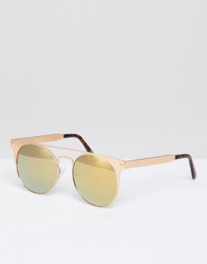 Quay Australia Золотистые солнцезащитные очки кошачий глаз. Цвет: черный