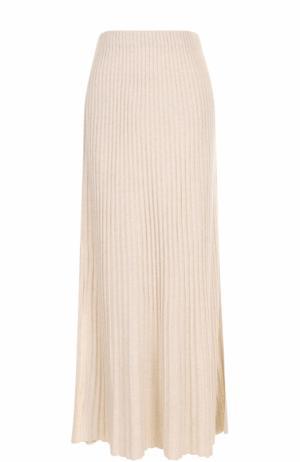 Плиссированная юбка-макси с разрезом Elizabeth and James. Цвет: бежевый