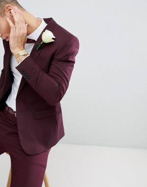 River Island Бордовый облегающий пиджак Wedding. Цвет: красный