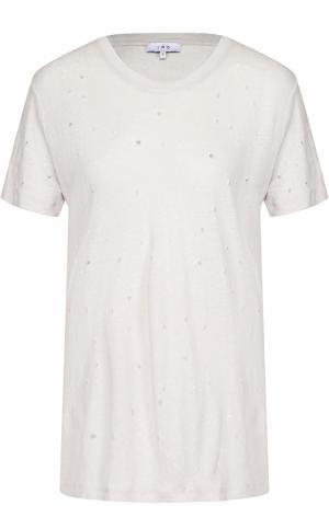Льняная футболка прямого кроя с перфорацией Iro. Цвет: бежевый